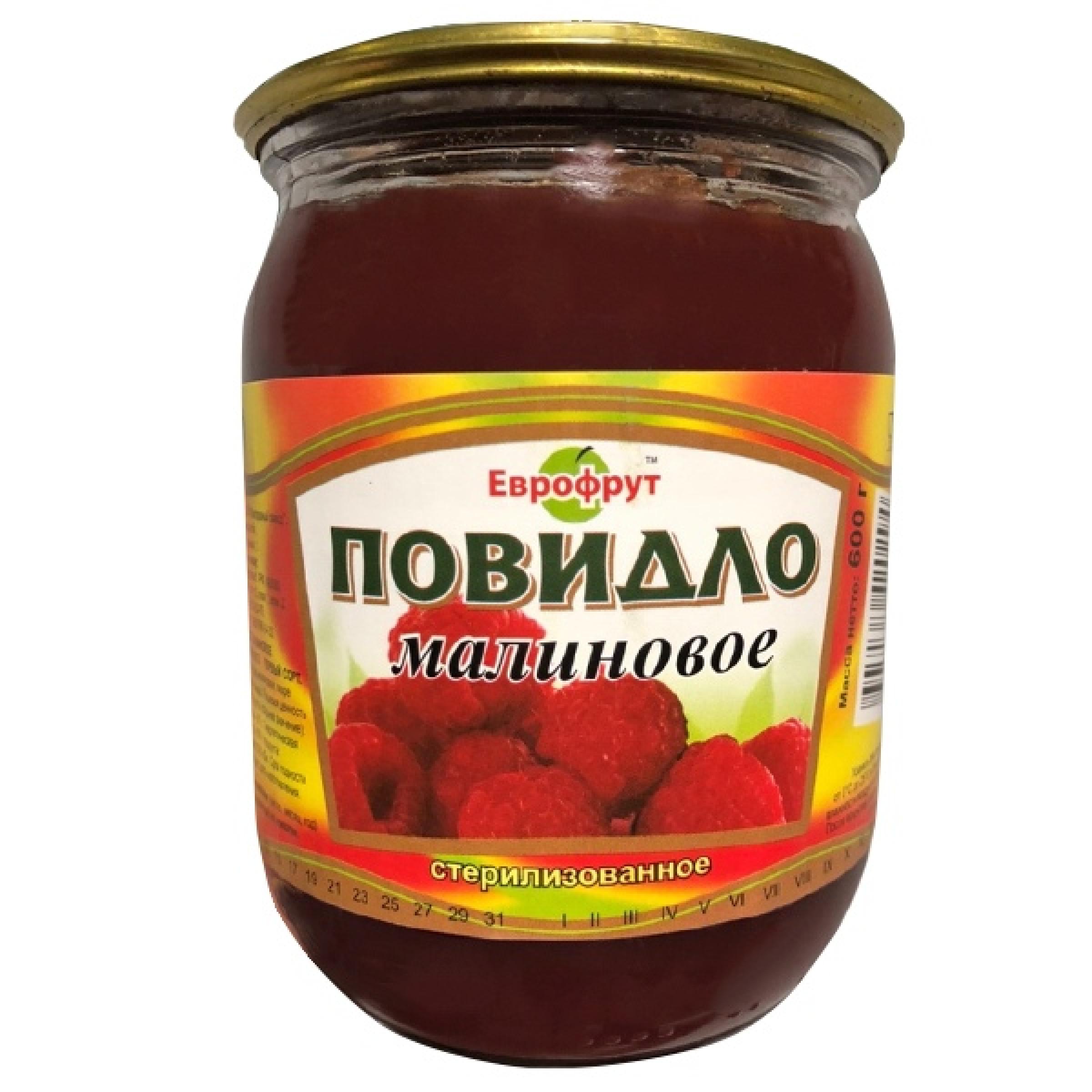 """Повидло малиновое ГОСТ """"Еврофрут"""", 600гр"""