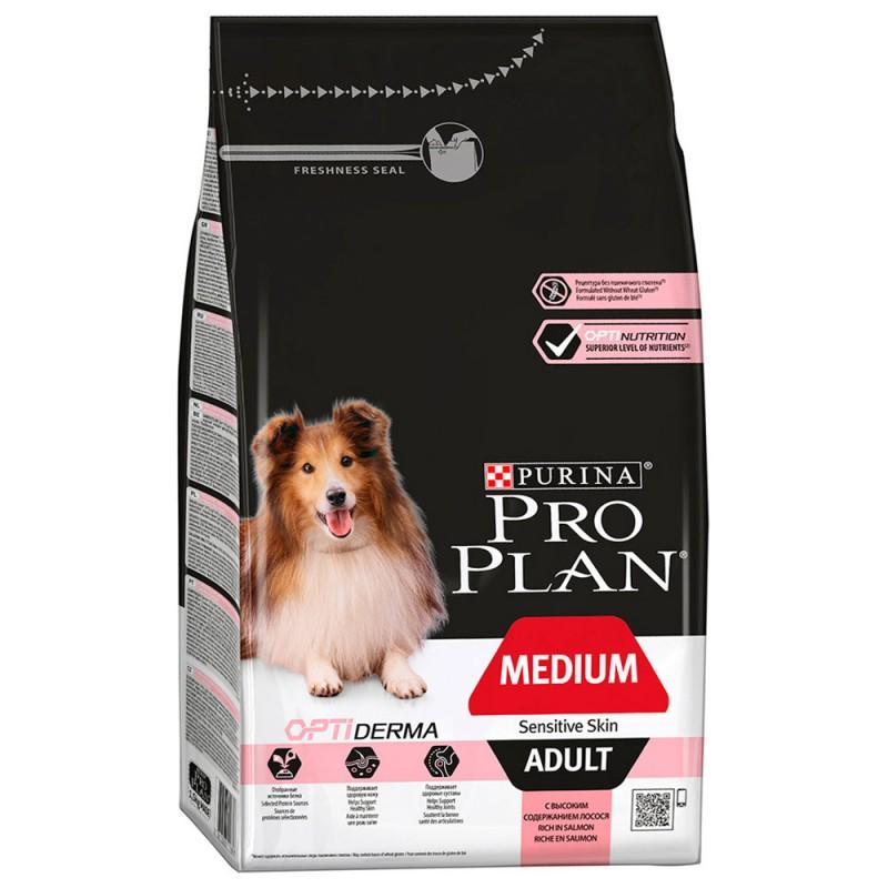 """Сухой корм для взрослых собак средних пород с чувствительной кожей со вкусом лосося """"Pro Plan"""", 7кг"""