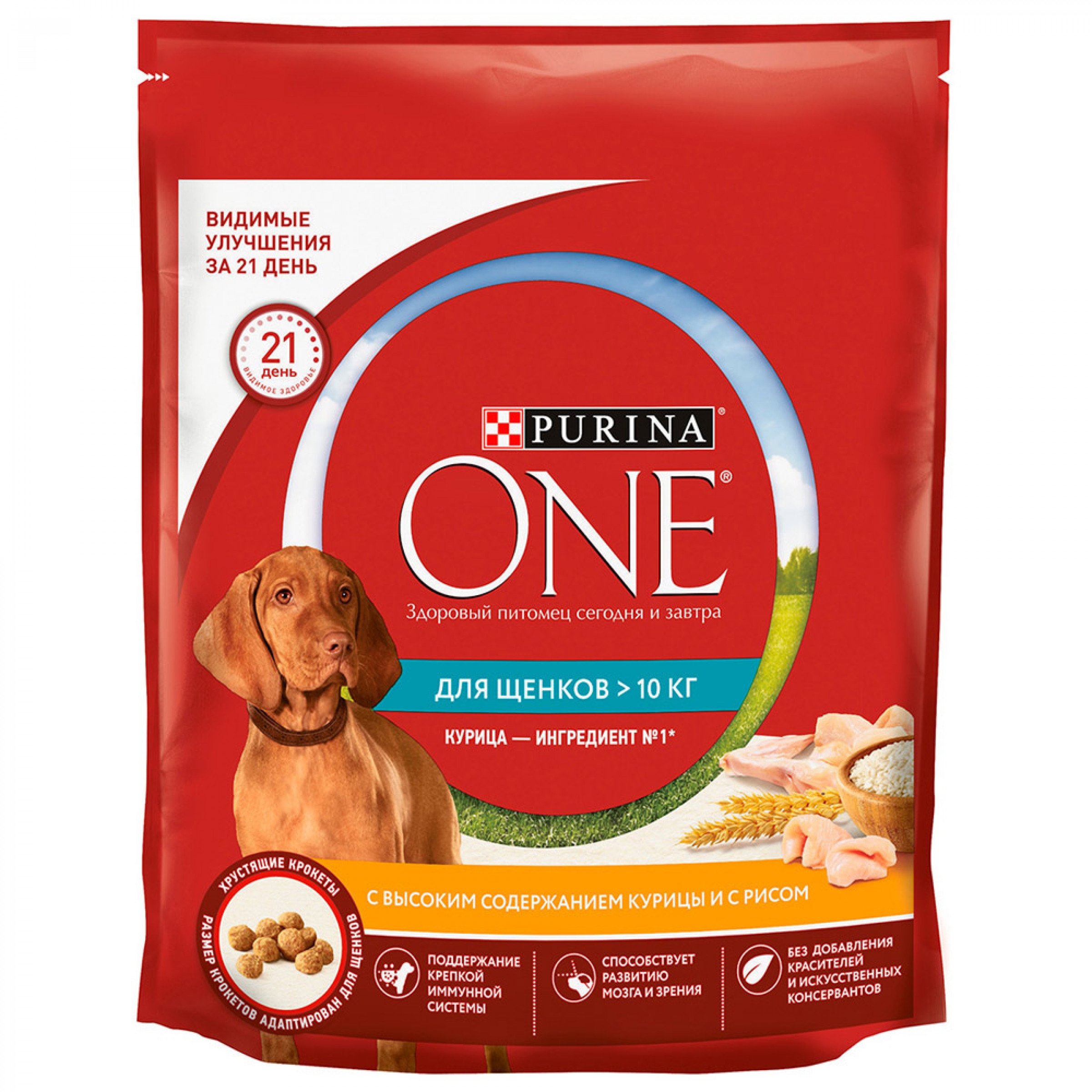 Сухой корм Purina ONE® для щенков средних и крупных пород с курицей и рисом, 700г