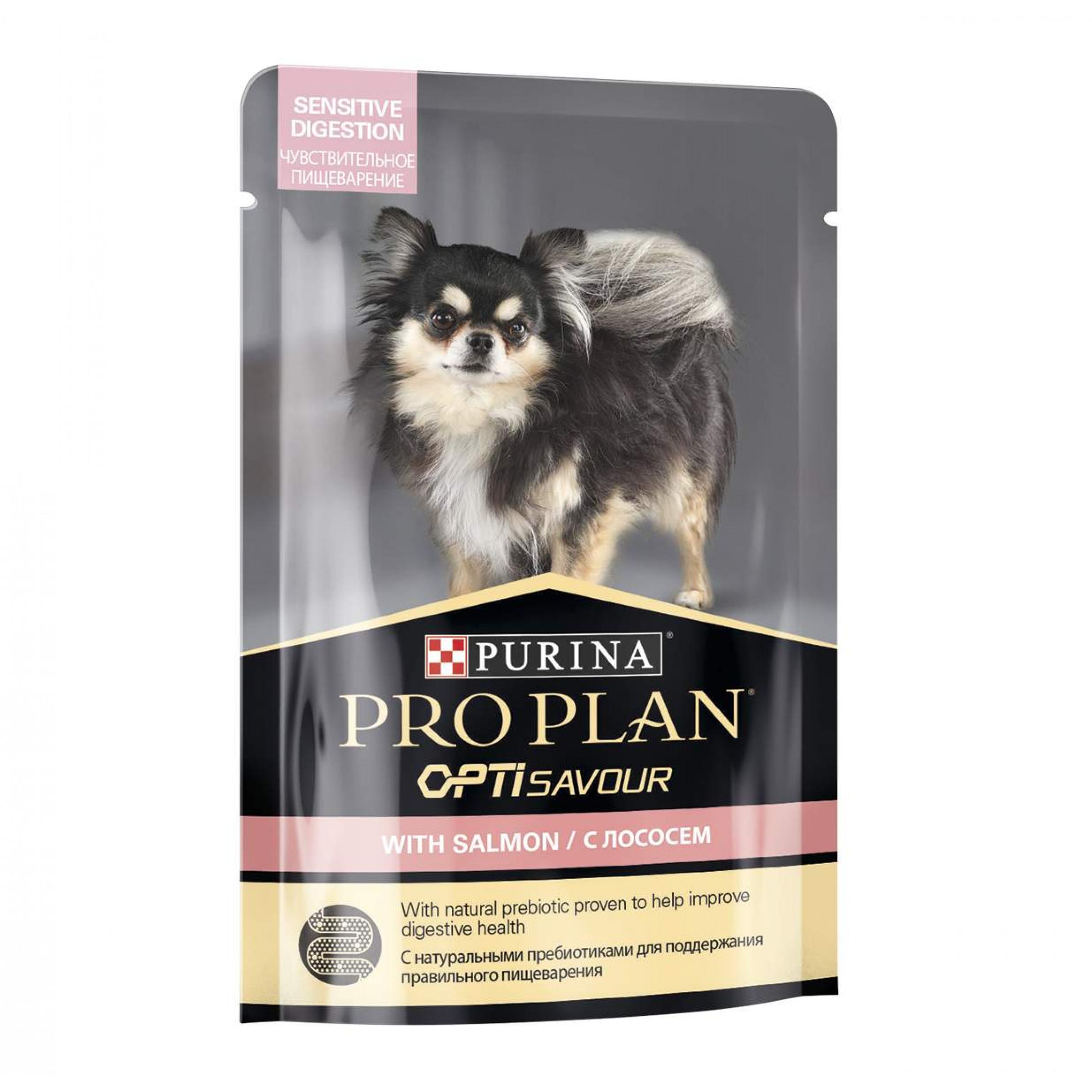 """Влажный корм для взрослых собак мелких и карликовых пород с чувствительным пищеварением с лососем в соусе """"Purina Pro Plan"""" OptiSavour, 100гр"""