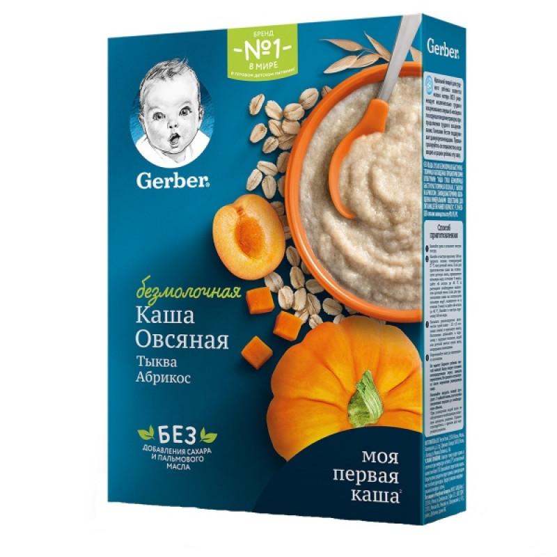 """Каша безмолочная овсяная со вкусом тыквы и абрикоса """"Gerber"""", 180гр"""