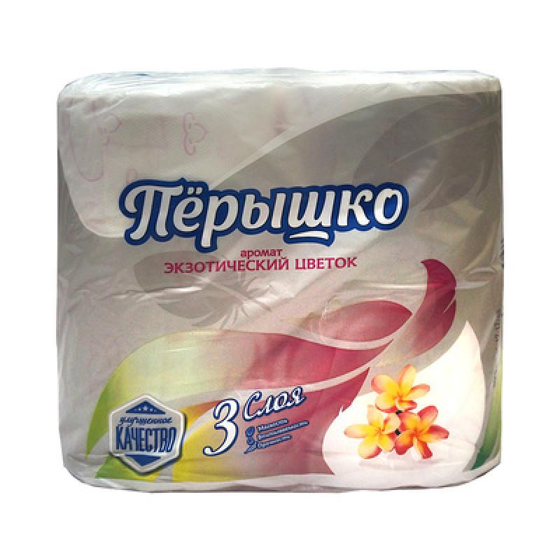 """Туалетная бумага белая 3 слоя экзотический цветок """"Перышко Comfort"""" 4 рулона, 1шт"""