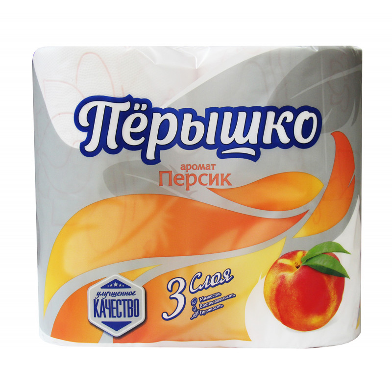 "Туалетная бумага белая 3 слоя персик ""Перышко Comfort"" 4 рулона, 1шт"