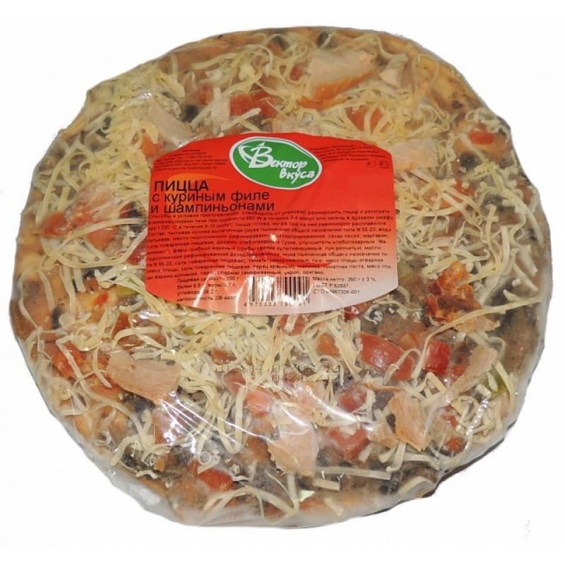 """Пицца вектор вкуса с курицей и грибами замороженная """"Вектор вкуса"""", 160гр"""