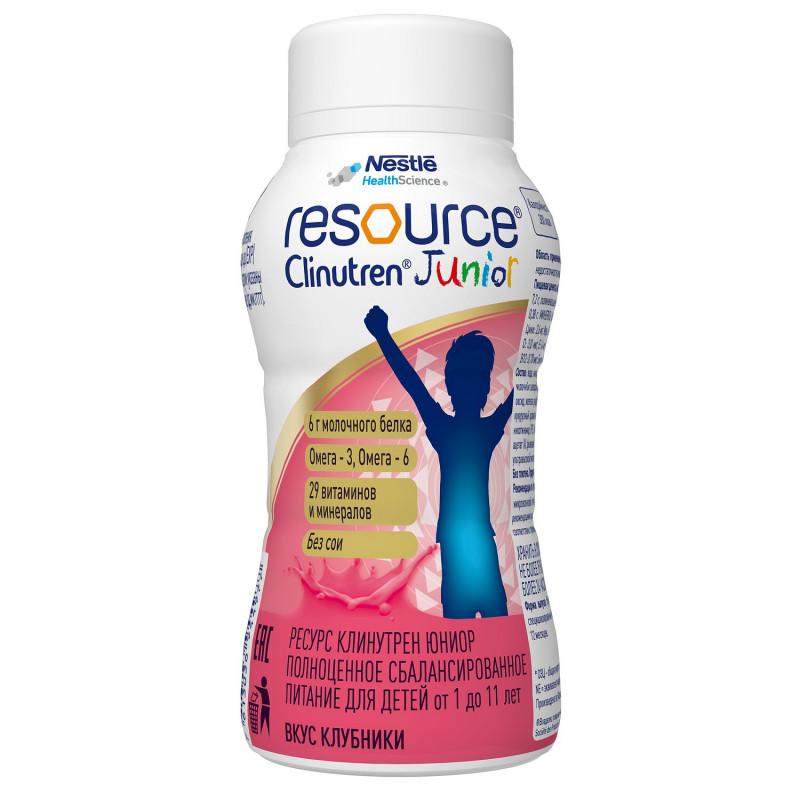 """Специализированная смесь со вкусом клубники """"Resource Clinutren Junior"""", 200 мл"""