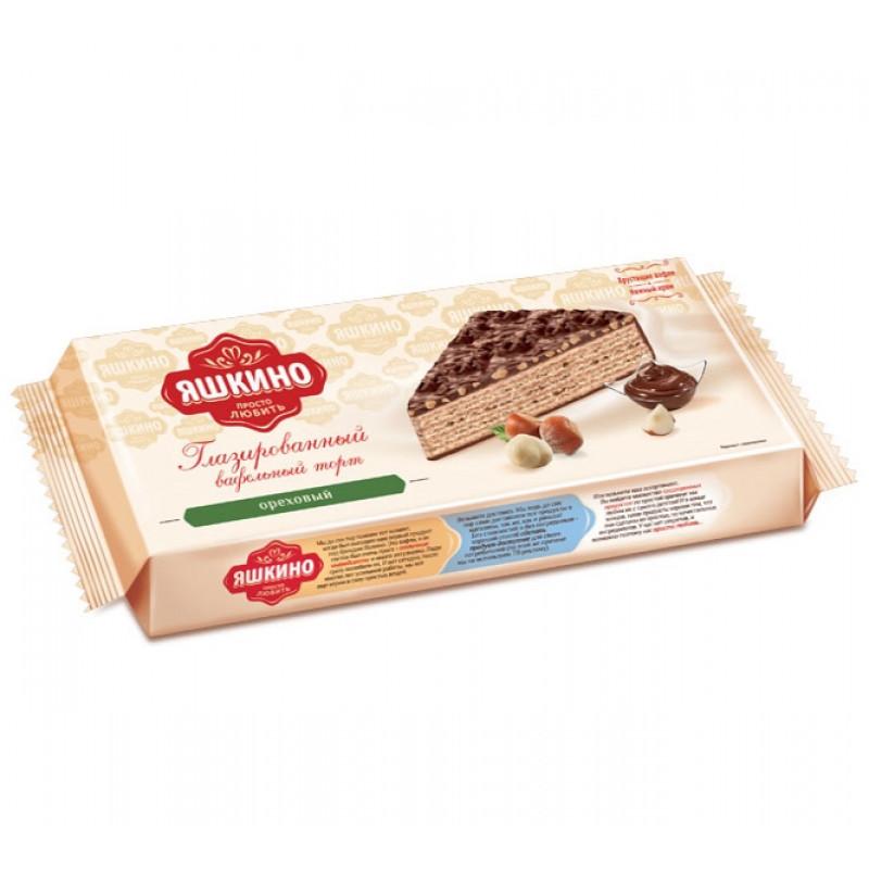 """Вафельный торт глазированный с орехом """"Яшкино"""", 250гр"""