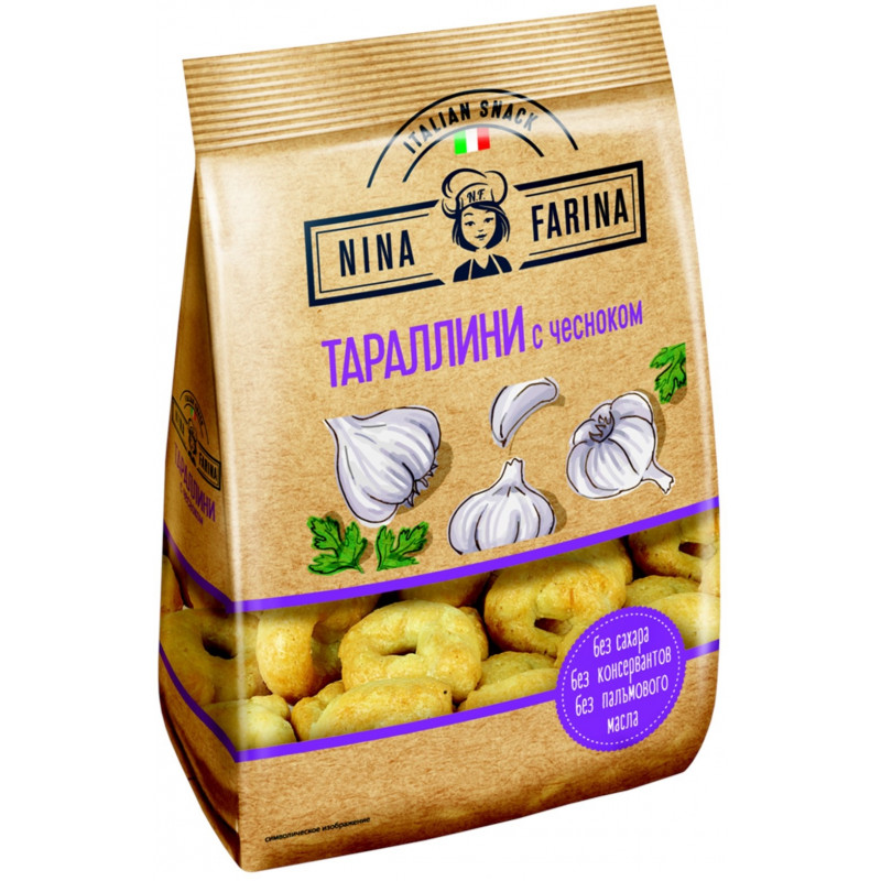 Тараллини с чесноком «Nina Farina», 180гр