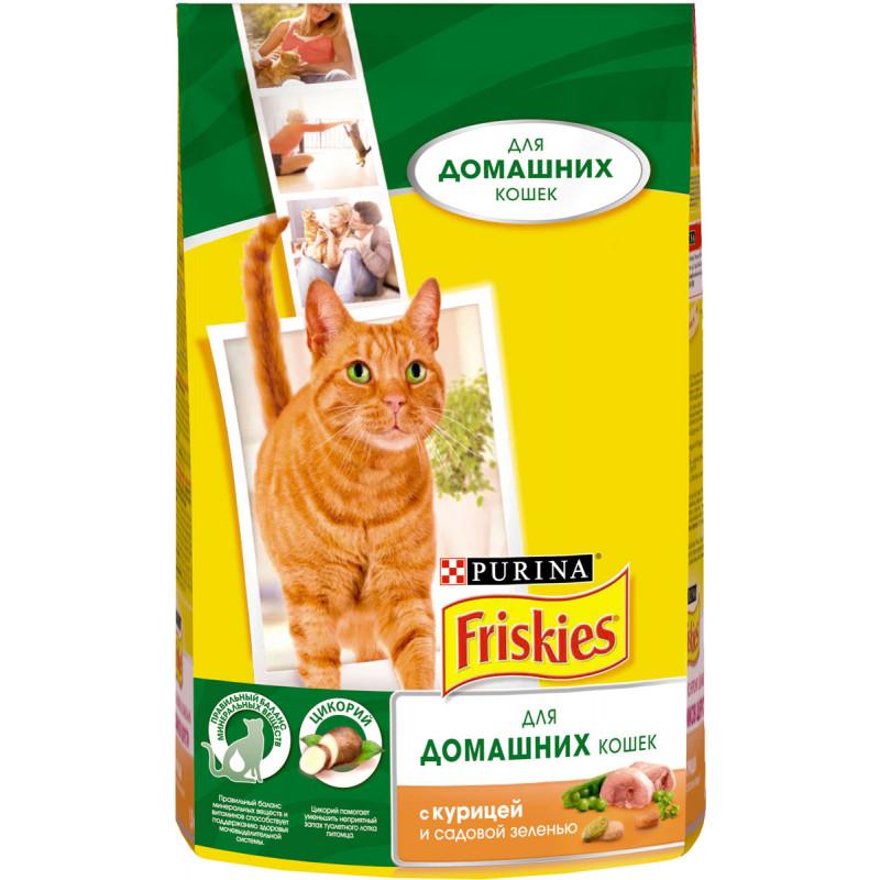 """Сухой корм для кошек с курицей и садовой зеленью """"Friskies"""", 1. 5кг"""