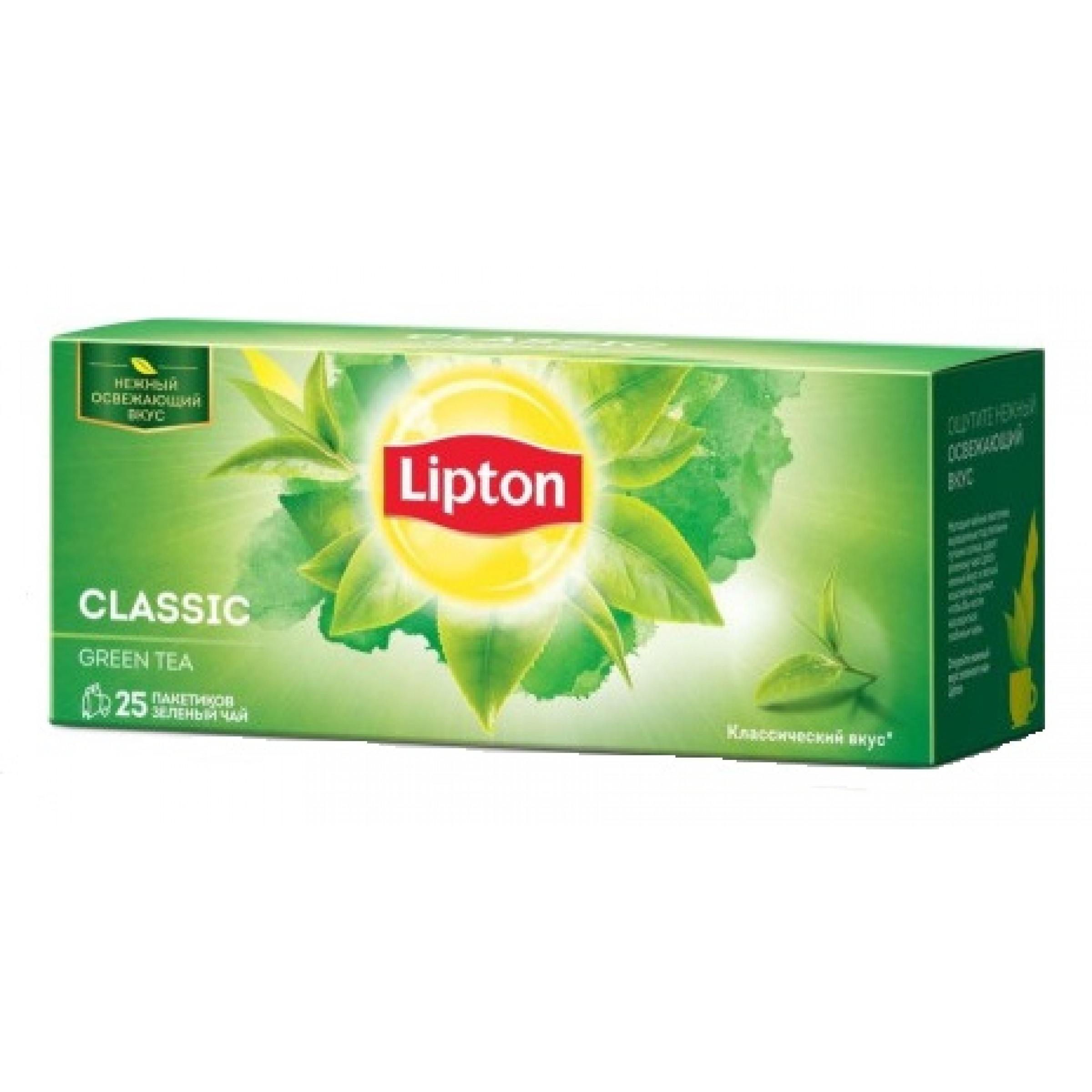 """Чай зеленый байховый классический """"Lipton"""", 25пак*1. 7гр"""
