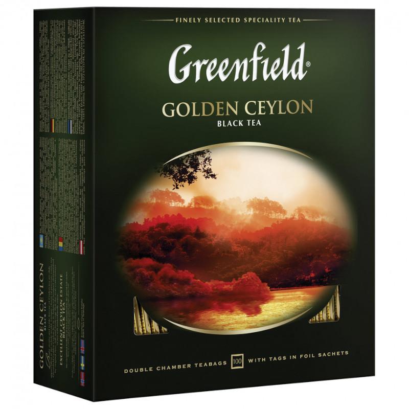 """Чай черный Golden Ceylon """"Greenfield"""", 100пак*2гр"""