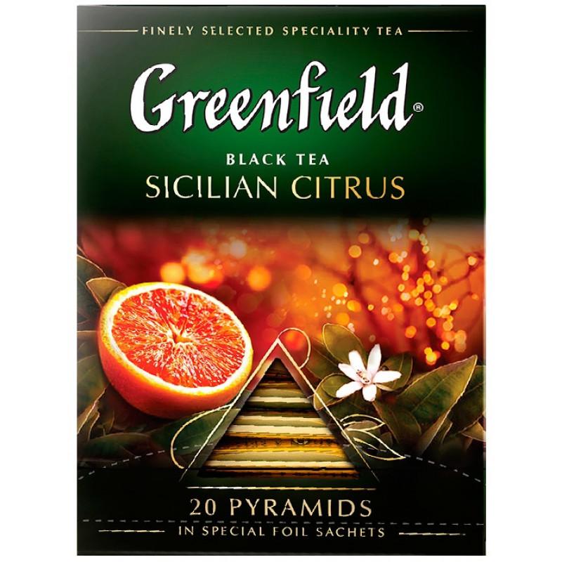 """Чай черный Sicilian Citrus в пирамидках """"Greenfield"""", 20пак*1. 8гр"""