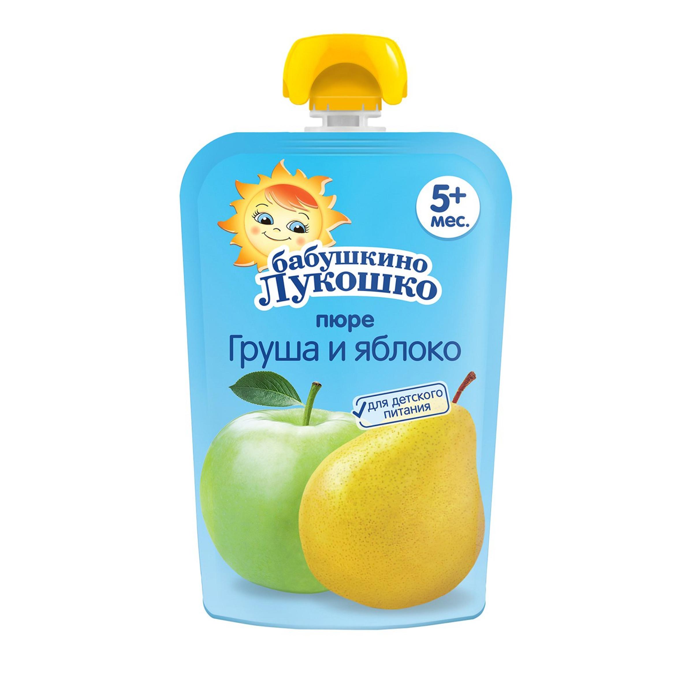 """Пюре из яблок и груш с 5 месяцев """"Бабушкино лукошко"""", 90гр"""