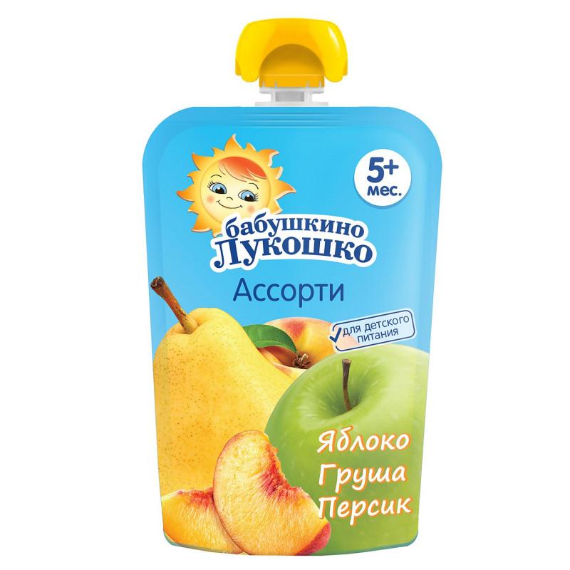 "Пюре из яблок, груш и персиков с 5 месяцев ""Бабушкино лукошко"", 90гр"