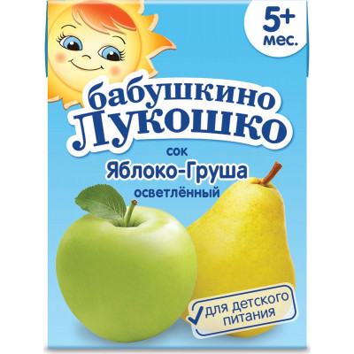 "Сок яблочно-грушевый с 5 месяцев ""Бабушкино лукошко"", 200гр"