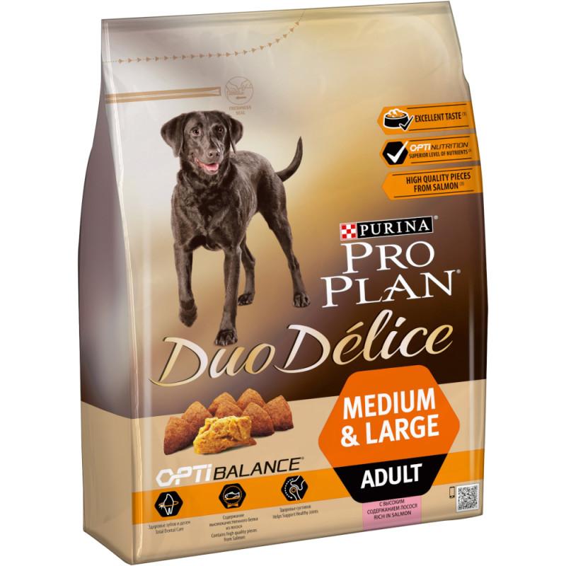 """Сухой корм для взрослых собак крупных и средних пород с лососем Duo Delice """"Purina Pro Plan"""", 2. 5кг"""