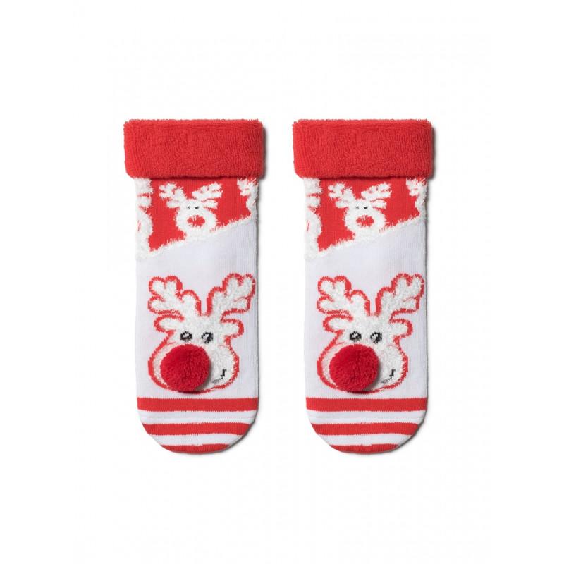 """Носки детские новогодние бело-красные размер 13-14 """"CONTE"""", 1шт"""