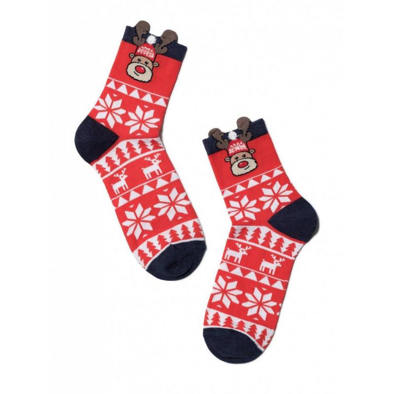 """Носки женские новогодние красные размер 23-25 """"CONTE"""", 1шт"""