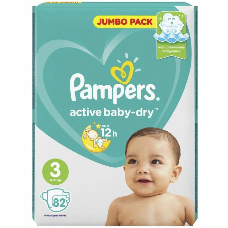 Подгузники Pampers Active Baby-Dry 3 6-10кг, 82шт