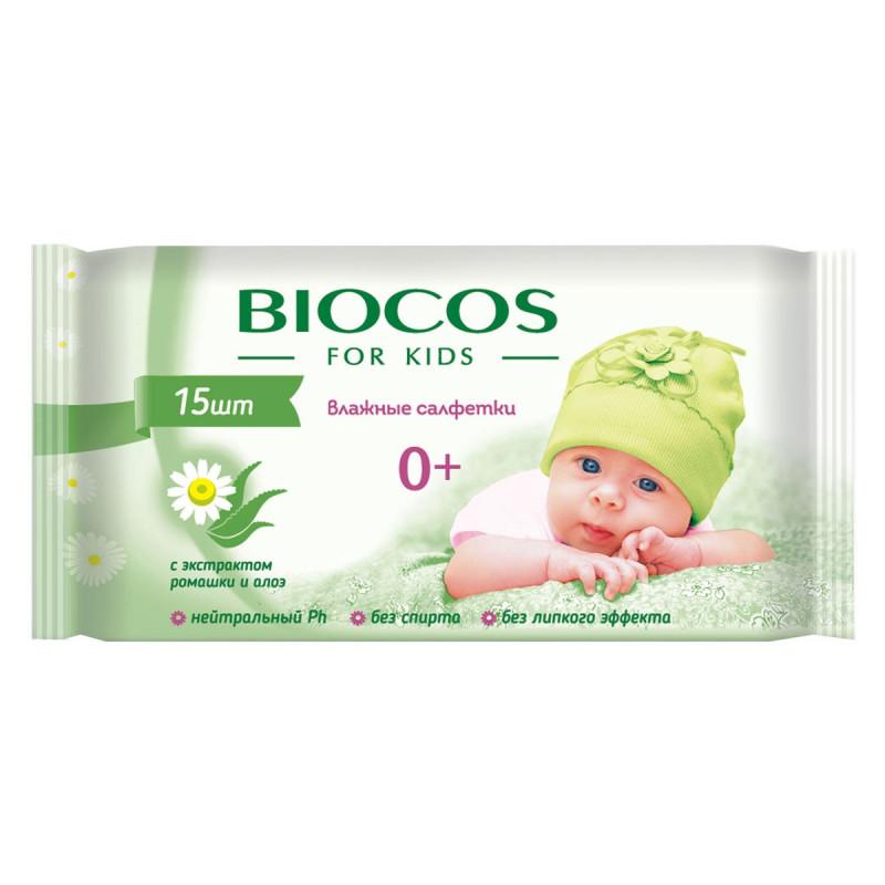 """Влажные детские салфетки """"BioCos"""", 15шт"""