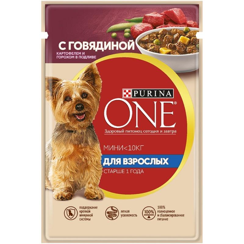 Влажный корм Purina ONE МИНИ для взрослых собак мелких пород с говядиной, картофелем и горохом в подливе, 85 гр