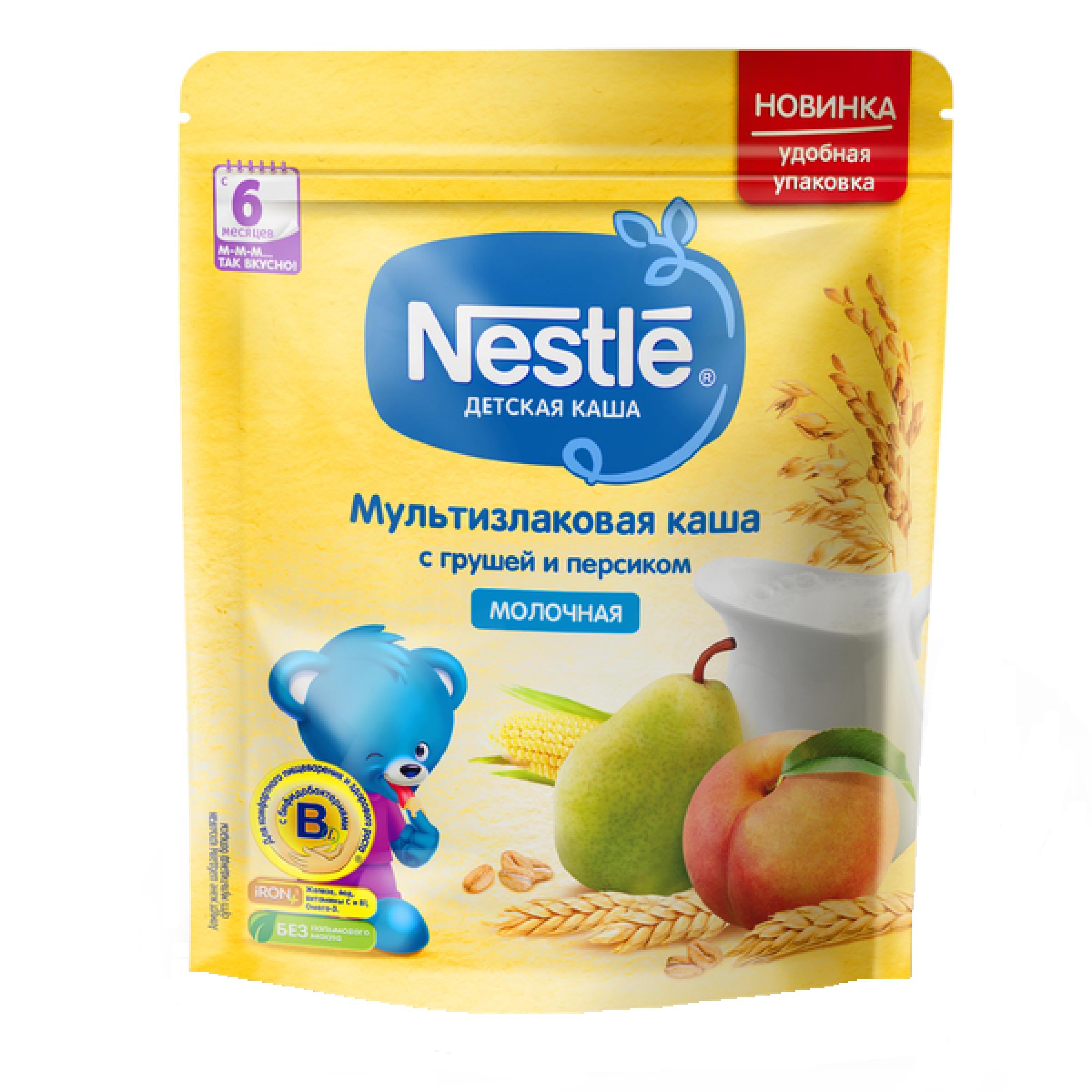 Каша сухая молочная мультизлаковая с грушей и персиком Nestle, 220 гр