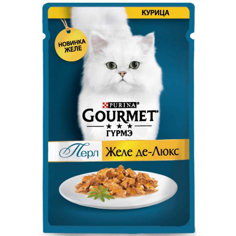 Желе Де-люкс Gourmet Perle для кошек, с курицей, 75 гр