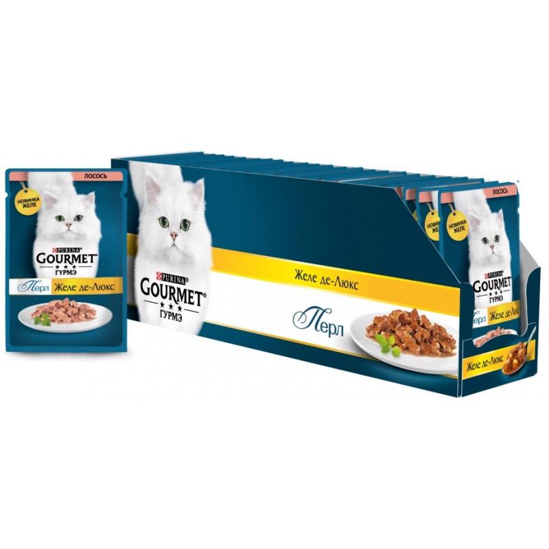Желе Де-люкс Gourmet Perle для кошек, с лососем, 75 гр