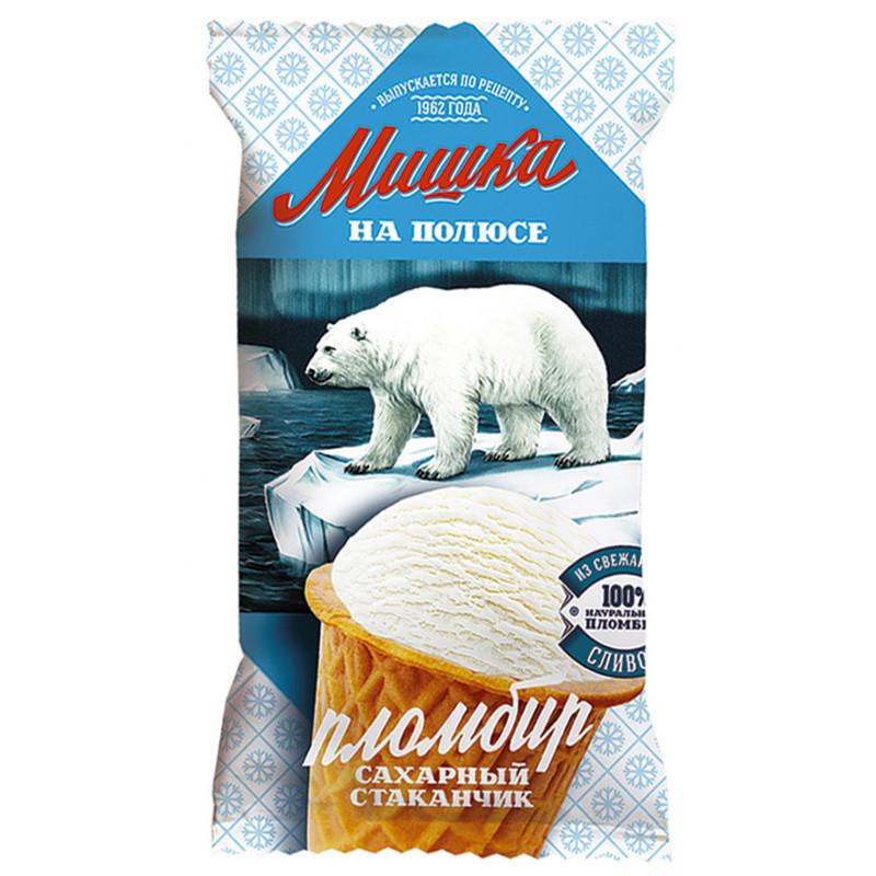 Мороженое Мишка на полюсе, пломбир в сахарном стаканчике, 70 гр