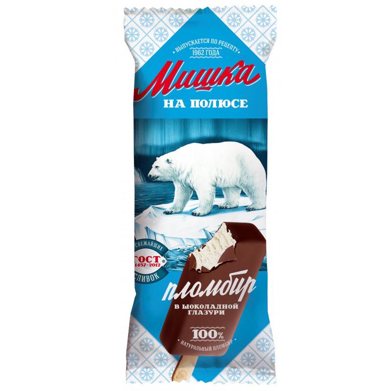 Мороженое Мишка на полюсе, пломбир в шоколадной глазури, 80гр