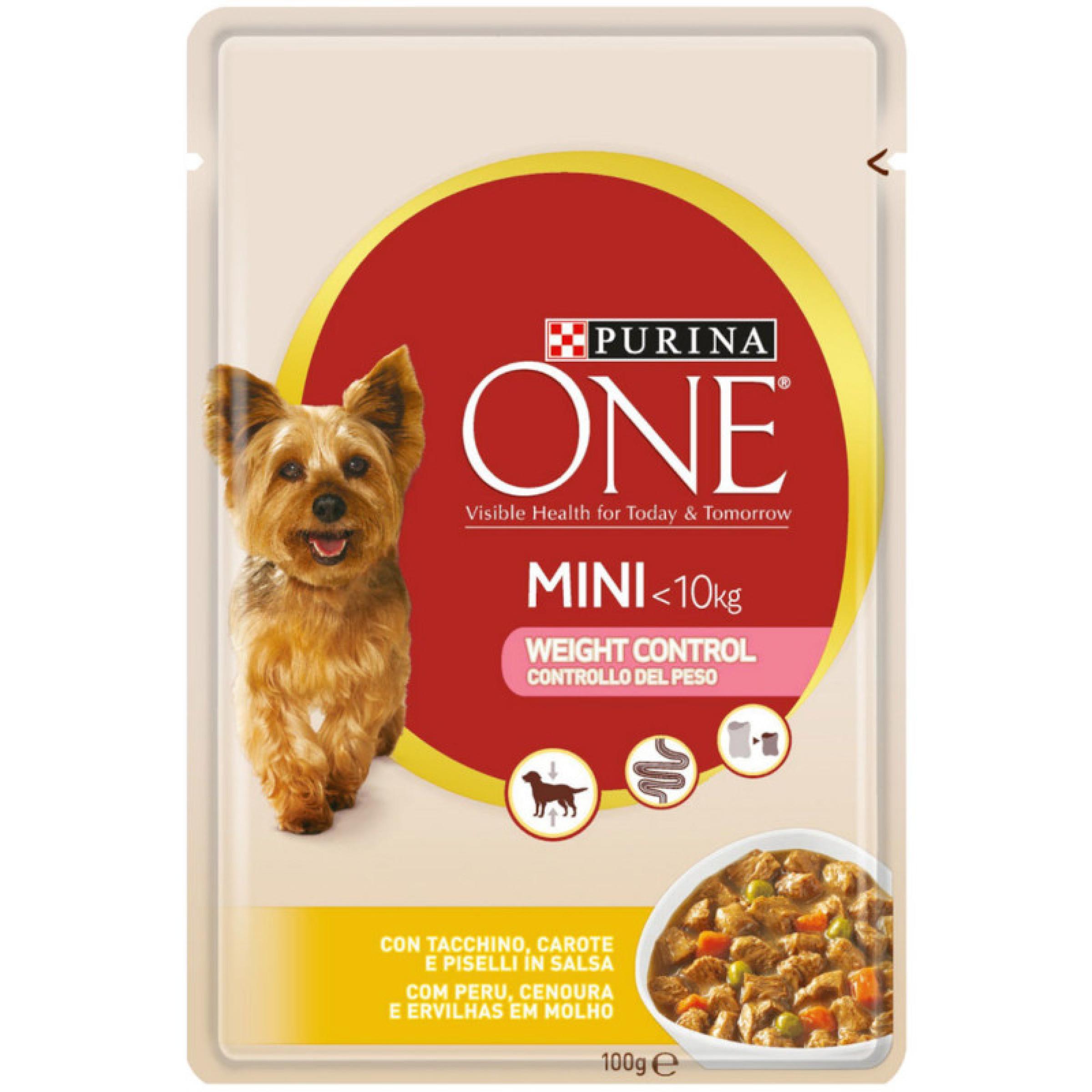 Корм влажный Purina One mini для собак, контроль веса, индейка, 85 гр