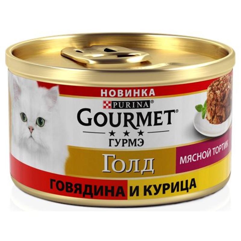 Влажный корм для кошек GOURMET Gold Мясной Тортик Говядина-курица, 85г