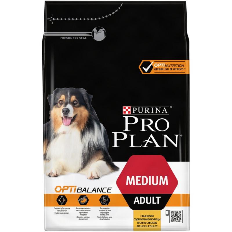 Сухой корм PRO PLAN для взрослых собак средних пород с Курицей,