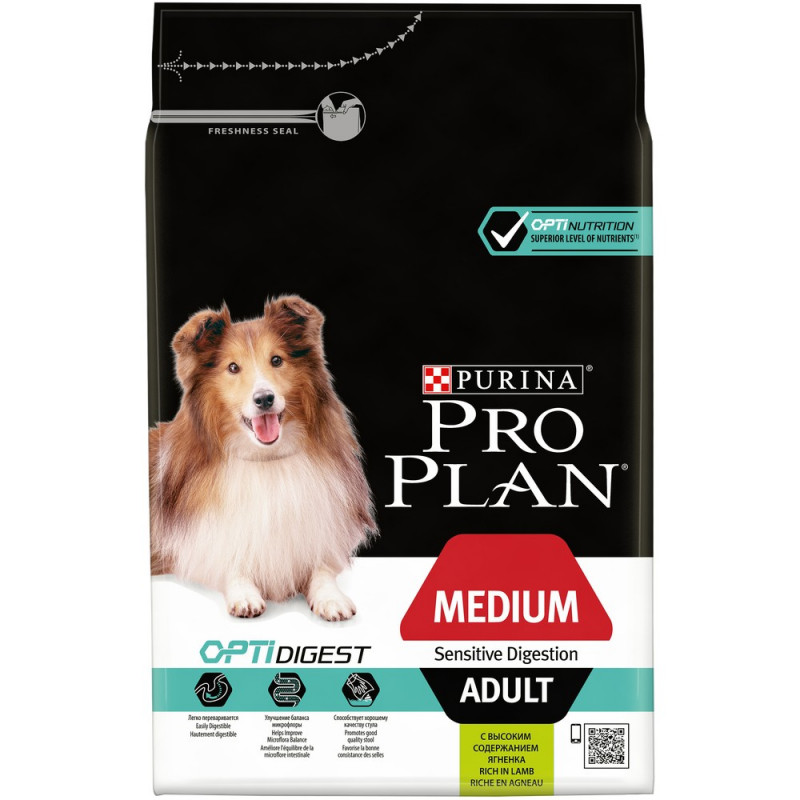 Сухой корм Pro Plan для взрослых собак средних пород с чувствит