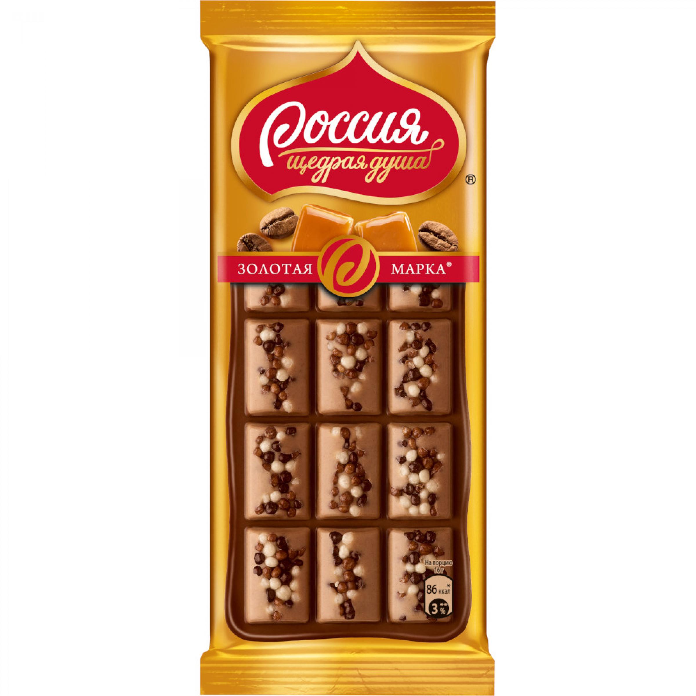 """Шоколад """"Россия"""" Золотая марка Дуэт карамель и кофе, 80 г"""