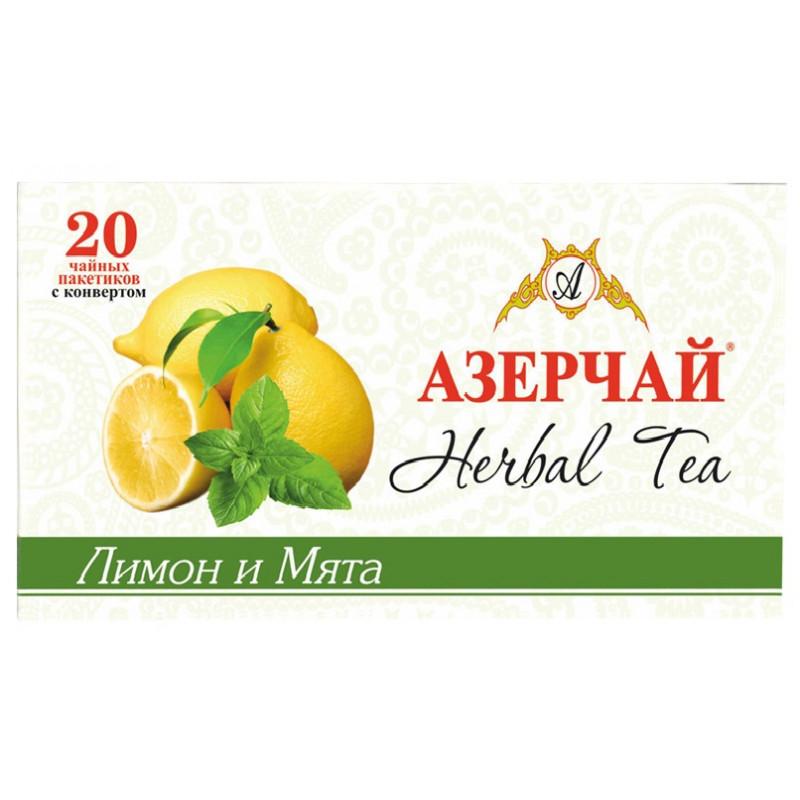 Чай черный Азерчай в пакетиках лимон/мята, 20шт