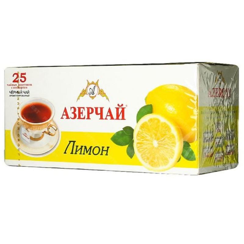 Чай черный Азерчай в пакетиках с лимоном, 25шт