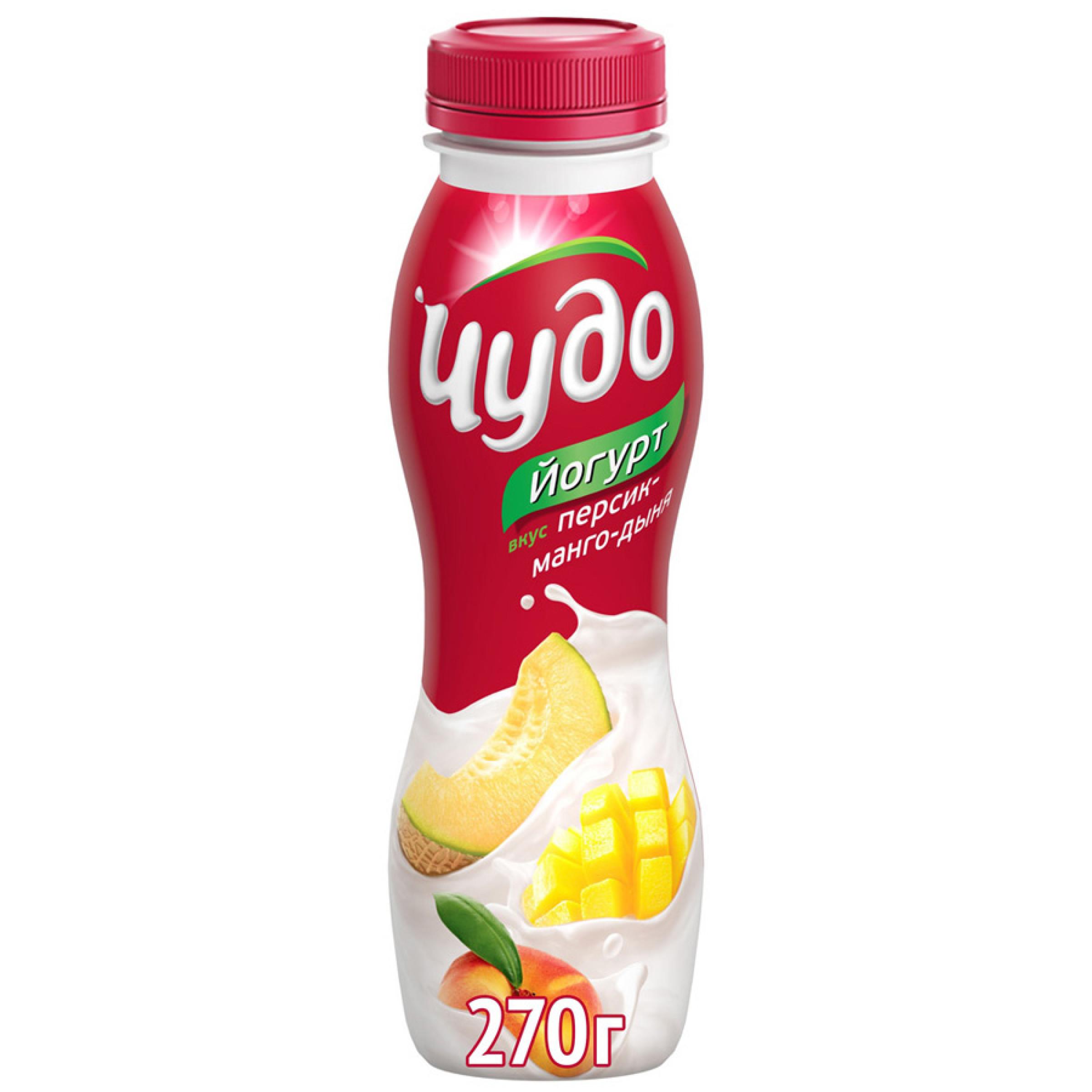 Йогурт питьевой Чудо 2. 4% персик-манго-дыня, 270гр