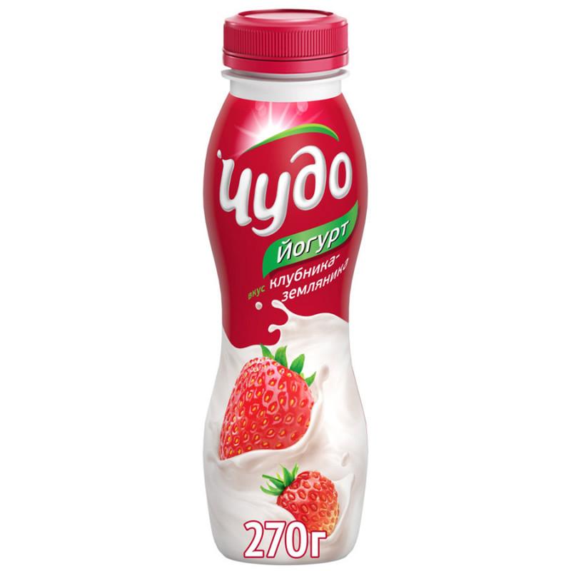 Йогурт питьевой Чудо 2. 4% клубника-земляника, 270гр