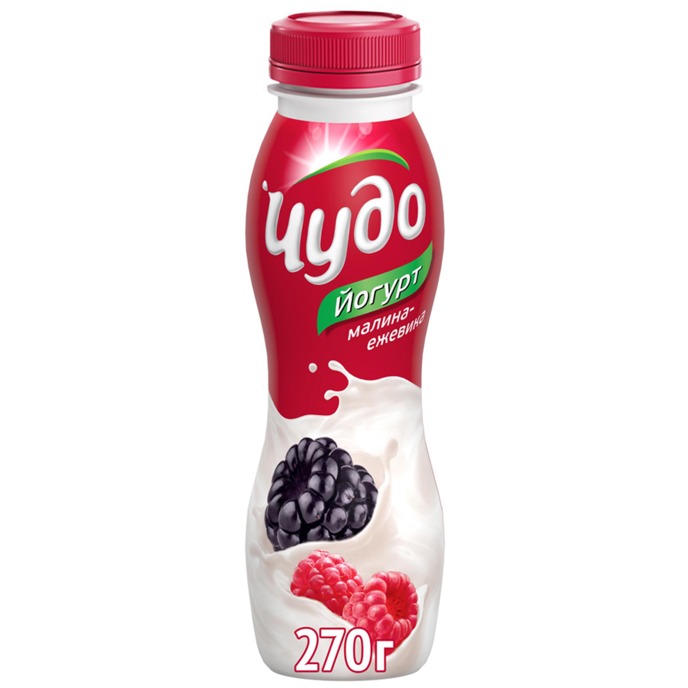 Йогурт питьевой Чудо 2. 4% малина-ежевика, 270гр
