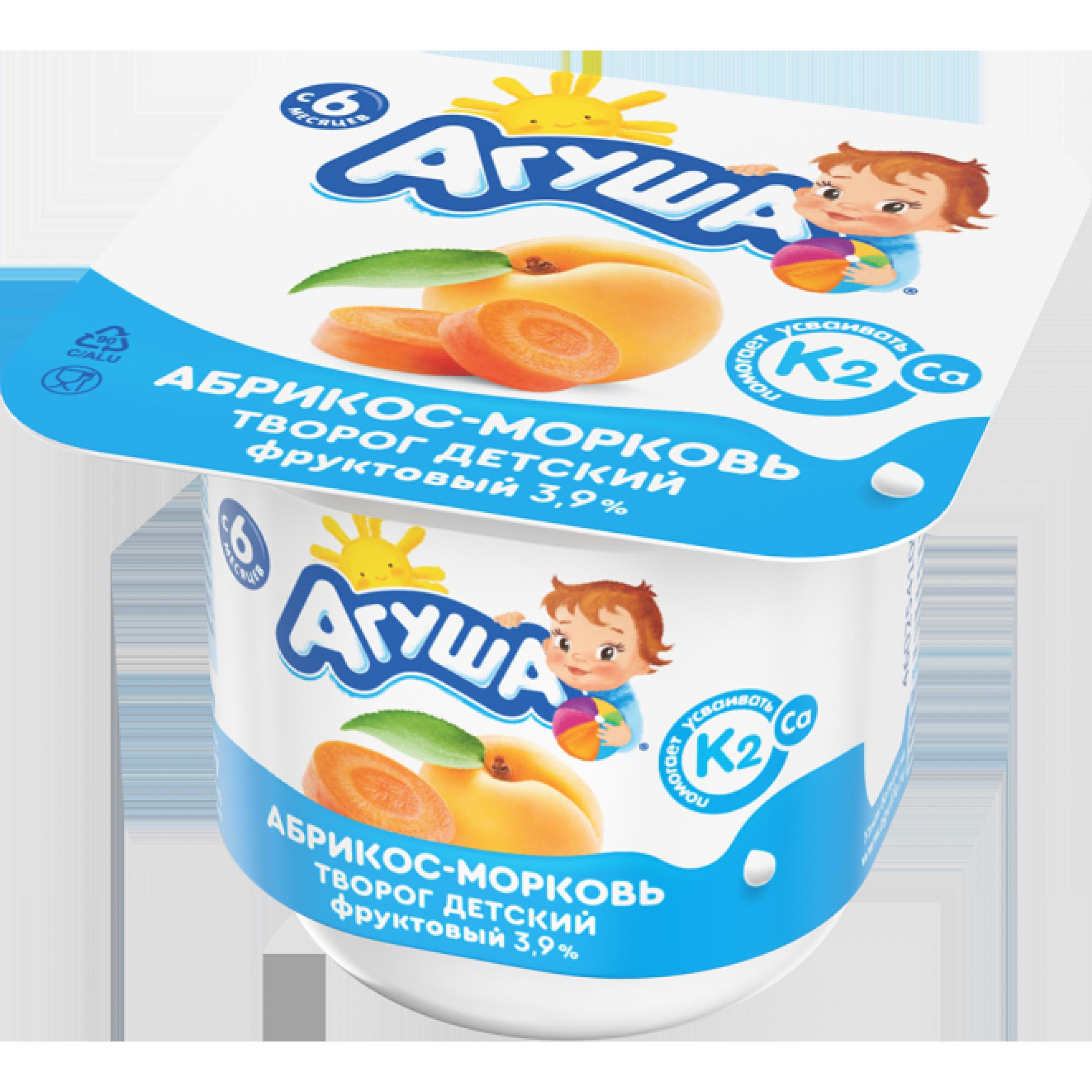 "Творог ""Агуша"" детский 3, 9% абрикос-морковь, 100гр."