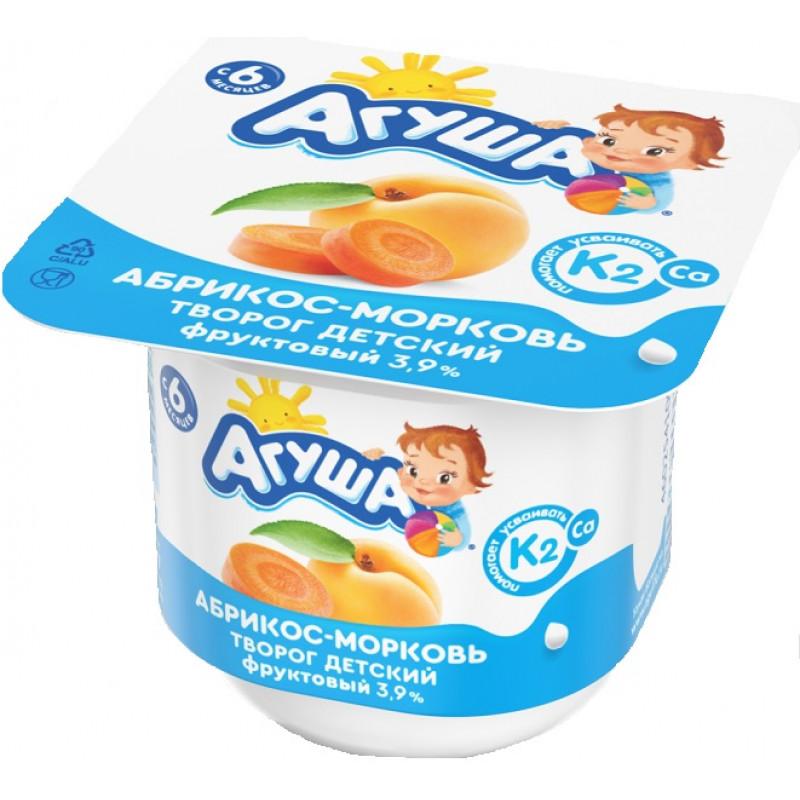 Творог детский фруктовый Агуша абрикос-морковь, 100гр