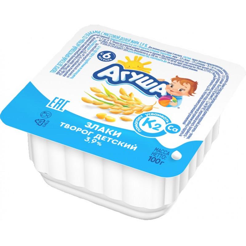 Творог детский фруктовый Агуша 3. 9% злаки, 100гр