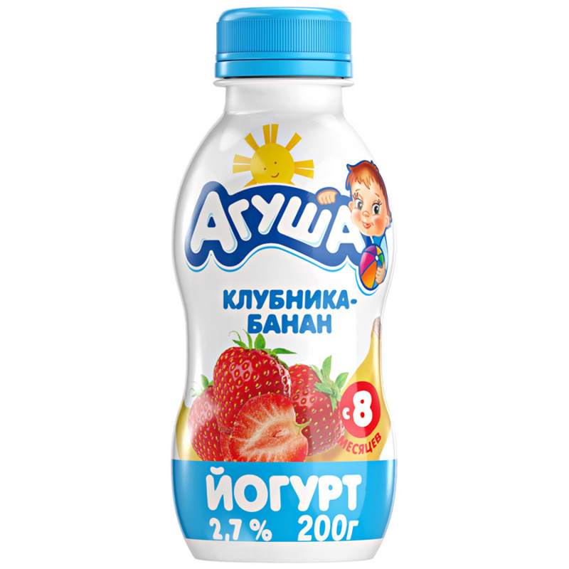 Йогурт фруктовый питьевой Агуша клубника-банан, 200гр