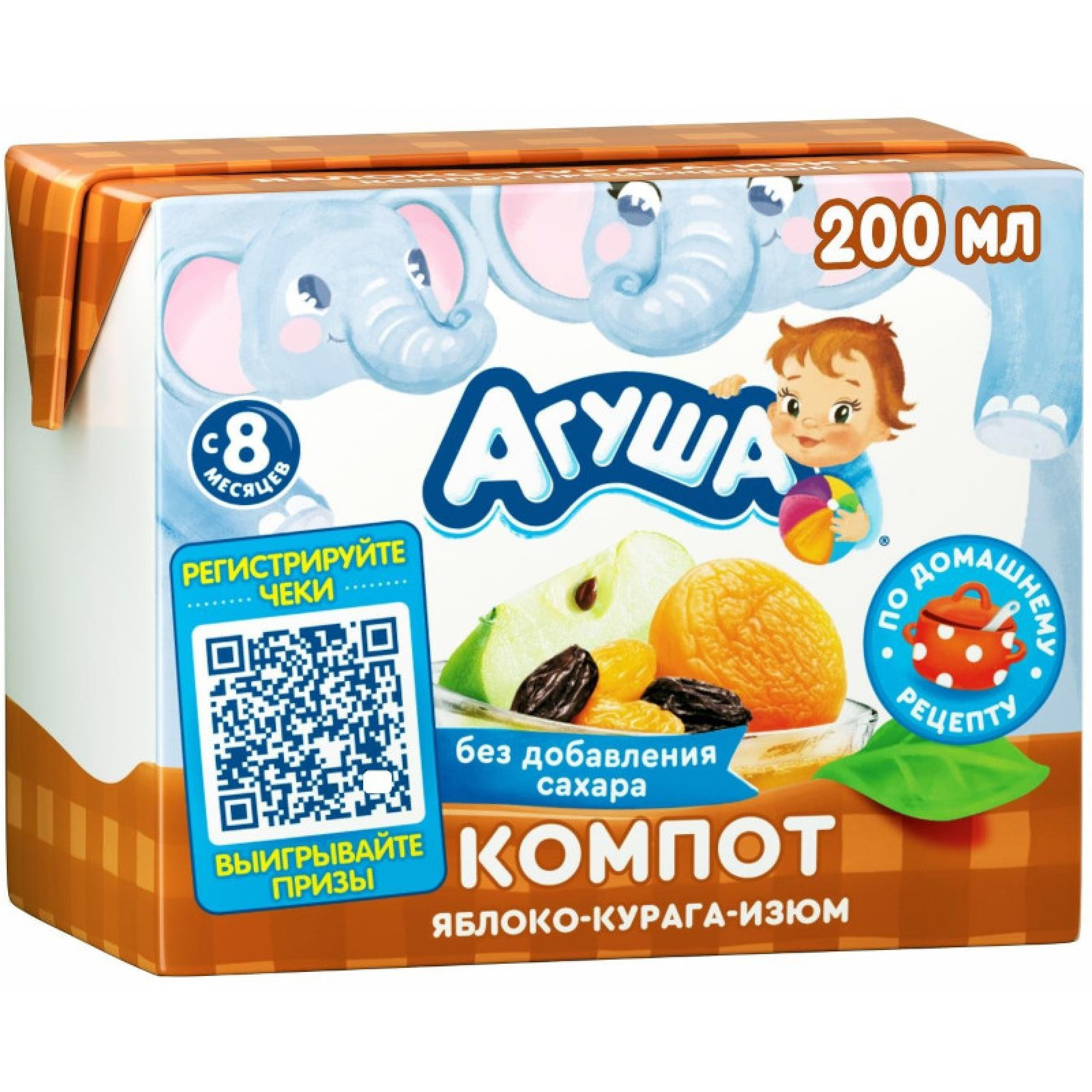 Компот Агуша курага-изюм-яблоко, 200 мл