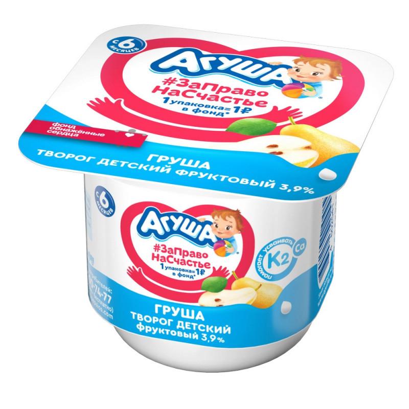 Творог детский фруктовый 3. 9% Агуша груша, 100г