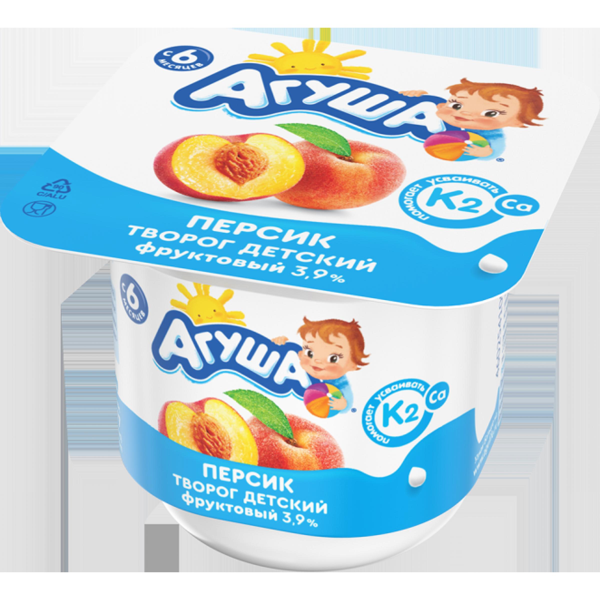 """Творог """"Агуша"""" детский 3,9% персик, 100 г"""