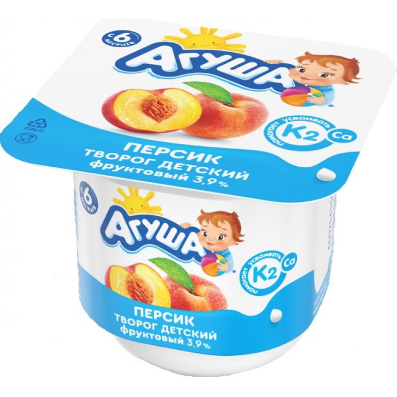 Творог детский 3. 9% фруктовый Агуша персик, 100гр