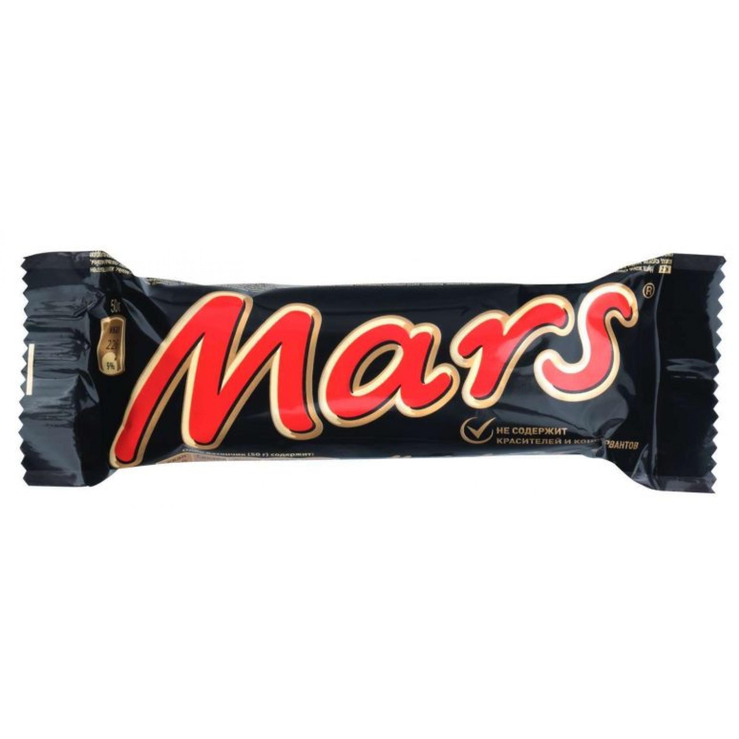 Шоколадный батончик Mars, 50 гр