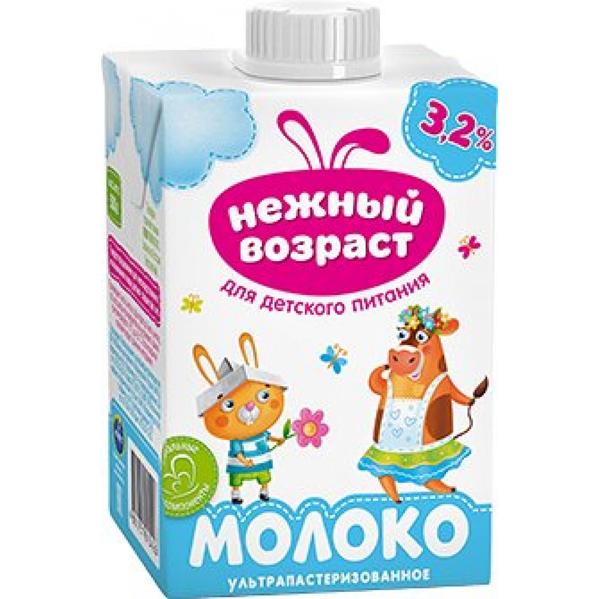 """Молоко """"Нежный возраст"""" 3,2% ультрапастеризованное, 500гр."""