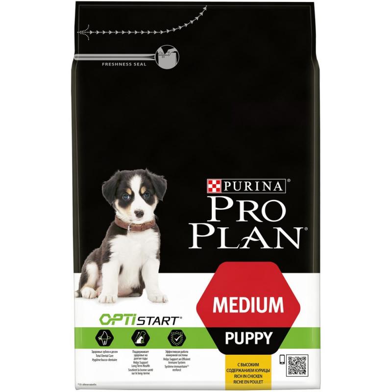 Сухой корм Pro Plan® для щенков средних пород с курицей, 3 кг